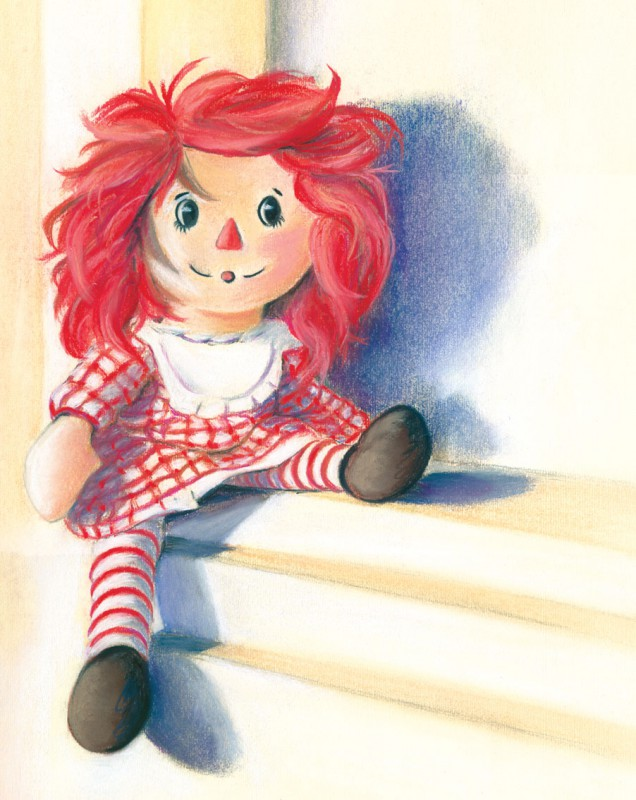 Raggedy-Anne - Fine art giclee print - child, children, cute, doll, Kids, red, toy, toys