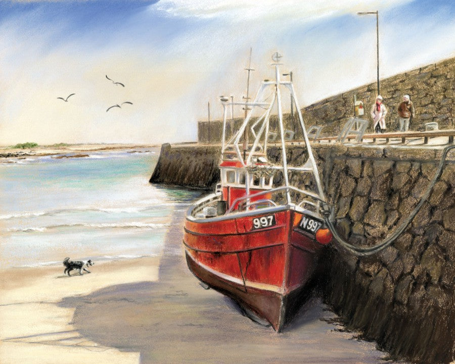 Spiddal Pier - Fine art giclee print - Boat, Connemara, Galway, Galway Bay, Ireland, Pier, Red, Ship, Spiddal, Spiddal Pier, Water, Waterscapes