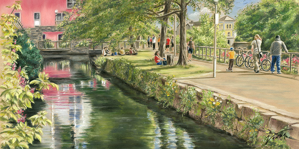 Sunny Spells - Fine art giclee print - Canal, Children, Corrib, Galway, Outside, Painting, People, Spanish Arch, Summer, Water