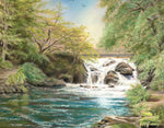 The Waterfall near Oughterard - Fine art giclee print - Connemara, Galway, Green, Landscapes, Oughterard, River, Water, Waterfall