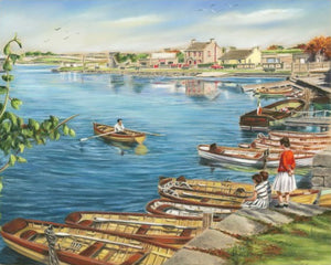 Waterside, Woodquay, Galway in the 1950's - Fine art giclee print - Boats, Coastal, Galway, Old, Summer, Water, Waterside, Woodquay
