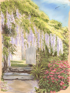 Wisteria Lane - Fine art giclee print - Floral, Flowers, garden, nature, path, Still Life, Wisteria