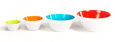 Multicolored hand blown glass bowls lined up in varying sizes from small to large.
