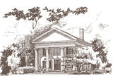 Logo for the old town hall exchange located in lincoln, ma. It is a sketch of the building.
