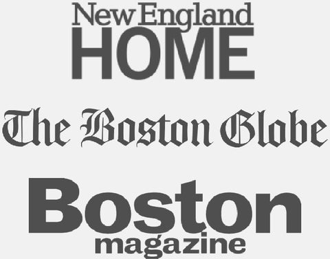 Logos for the Boston Globe, New England Home and Boston Magazine