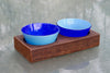 2 hole Wood Tray with Multicolor Bowls in Cobalt and Turquoise