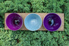 3 hole wood tray with Amethyst, Grey, Hyacinth small bowls