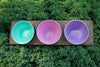 3 hole wood tray with Celadon, Pale Rose, Lavender small bowls