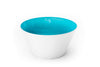 A teal blue handblown glass bowl. Made in the USA from Serve Kindness.