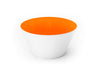 Orange glass bowl handblown in the USA.