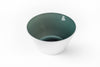 Smoke colored glass bowl that is grey green in color and handblown in the USA.