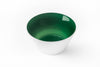 Emerald green glass bowl handblown in the USA.