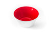 Red glass bowl handblown in the USA.