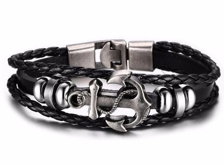 Anchor Bracelet - Stainless Steel Leather - Streetwear Jewelry