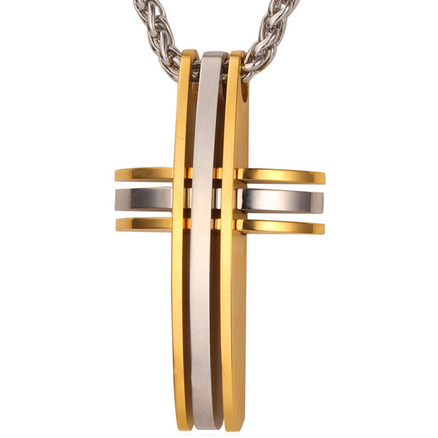 Cross Two Tone Pendant Necklace - Streetwear Jewelry
