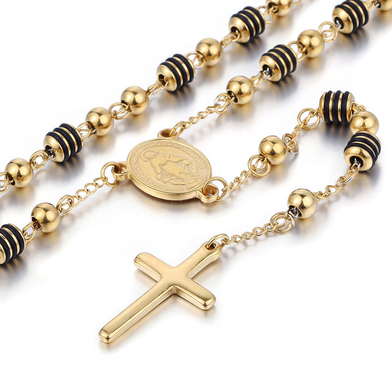 Rosary Streetwear Cross Beaded Necklace - Streetwear Jewelry