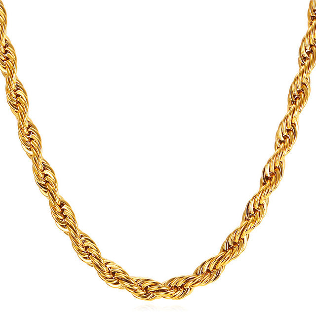 Rope Chain Necklace Thick Stainless Steel - Streetwear Jewelry