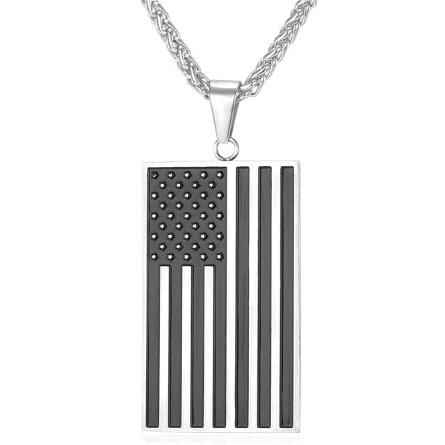 American Flag Dog Tag Pendant Necklace - Streetwear Jewelry
