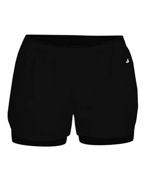 Badger Sport Bottoms Xs / Black Badger - Women's Double Up Shorts