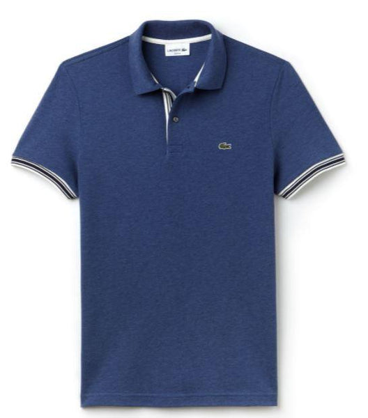 Lacoste Polos S / Verbier Blue Chine Lacoste - MEN'S SLIM FIT PIPED SLEEVES PIQUÉ POLO