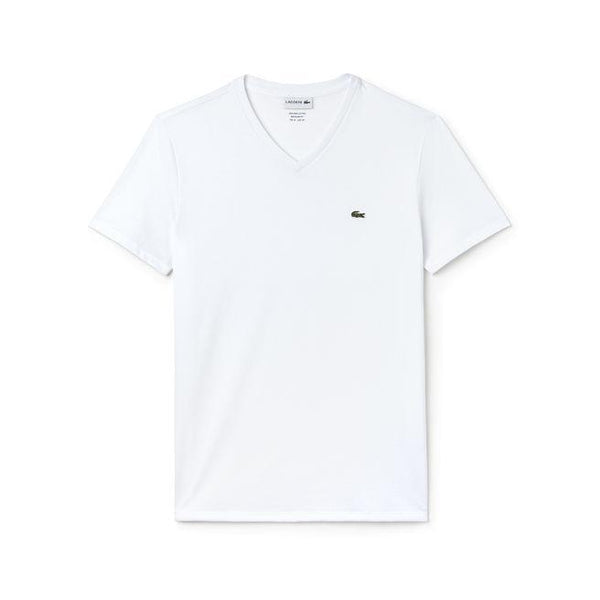 Lacoste T-shirts S / WHITE Lacoste Men's Short Sleeve Pima Jersey V-neck