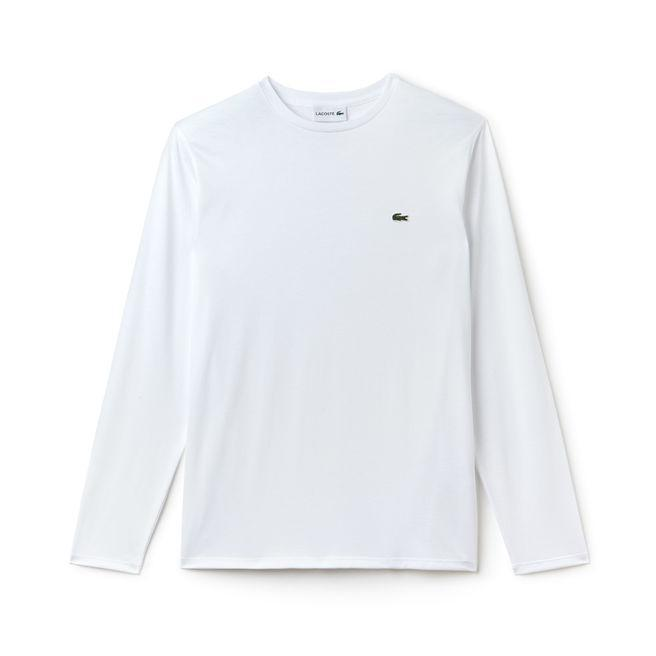 Lacoste T-shirts XS / WHITE Lacoste Men's Long Sleeve Pima Jersey Crewneck