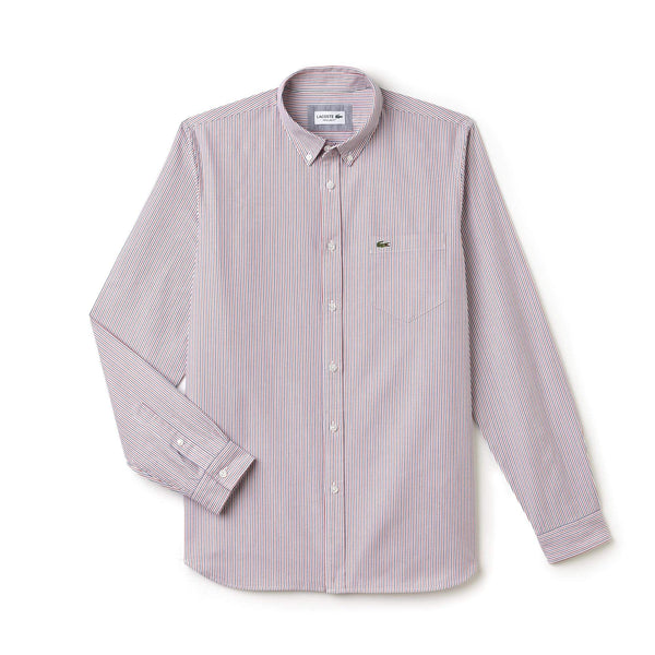 Lacoste Woven Shirts S / NYMPH/WHITE Lacoste Men's Regular Fit Colored Strips Oxford Cotton Shirt