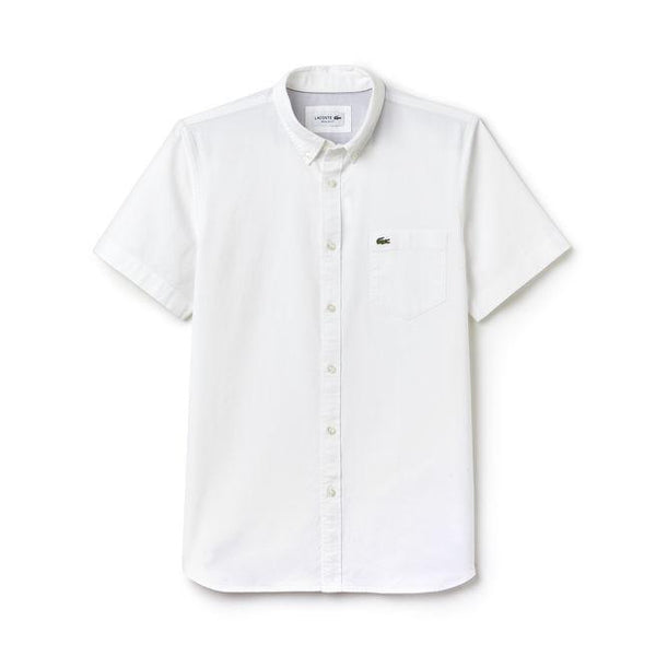 Lacoste Woven Shirts S / WHITE/WHITE Lacoste Men's Short Sleeve Regular Fit Button Down Oxford Solid Woven Shirt