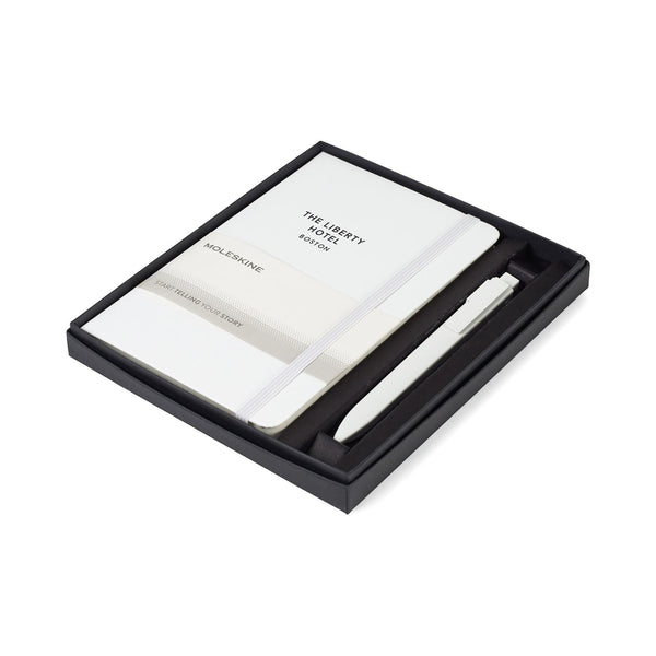 Moleskine - 25 piece minimum Accessories 25 piece minimum / White Moleskine - medium Hard cover Notebook and GO Pen Gift Set