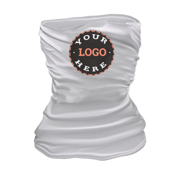 Ships in 12-16 business days. Sold in packs of 50 Accessories 50 Gaiter pack / White Custom Logo'd Washable Neck Gaiters - Starting at 50 unit packs