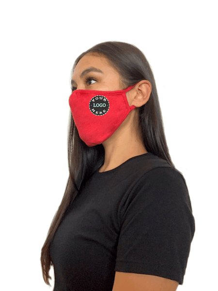 Ships in 16-21 business days. Minimum size pack of 48 Accessories 48 Mask Pack / Heather Red Decorated Eco 2 ply (Recycled poly / Cotton) washable Masks - starting at packs of 48
