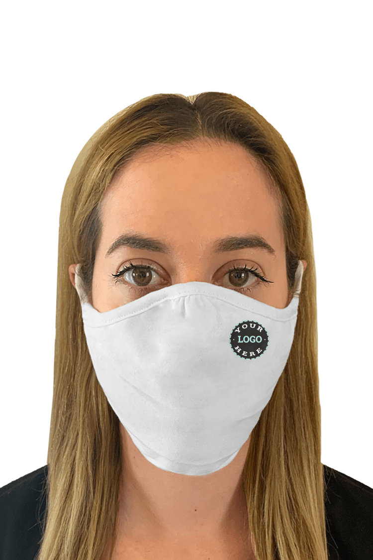Ships in 16-21 business days. Minimum size pack of 48 Accessories 48 Mask Pack / White Decorated Eco 2 ply (Recycled poly / Cotton) washable Masks - starting at packs of 48