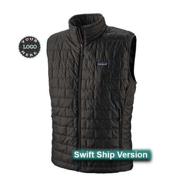Swift Ship items rush ship 3 days after art approval: They require a 12 piece min and cannot be combined with non-swift items. This same item is available in additional colors, sizes and lower quantities by shopping our standard collection Swift Ship 3 day Swift Ship - Patagonia Men's Nano Puff® Vest