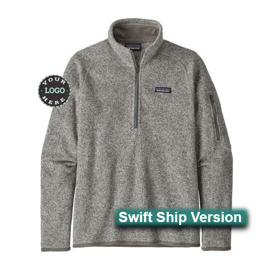 Swift Ship items rush ship 3 days after art approval: They require a 12 piece min and cannot be combined with non-swift items. This same item is available in additional colors, sizes and lower quantities by shopping our standard collection Swift Ship 3 day Swift Ship - Patagonia Women's Better Sweater® 1/4-Zip Fleece