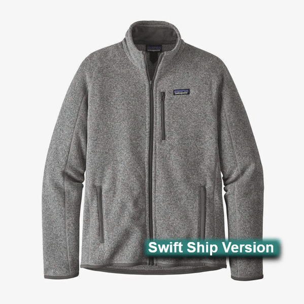 Swift Ship items rush ship 3 days after art approval: They require a 12 piece min and cannot be combined with non-swift items. This same item is available in additional colors, sizes and lower quantities by shopping our standard collection Swift Ship 3 day Swift Ship - Patagonia Men's Better Sweater® Fleece Jacket