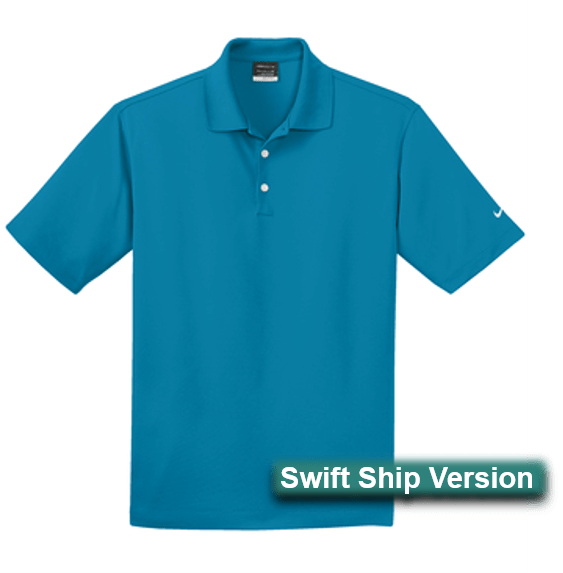 Swift Ship items rush ship 3 days after art approval: They require a 12 piece min and cannot be combined with non-swift items. This same item is available in additional colors, sizes and lower quantities by shopping our standard collection Swift Ship 3 day Swift Ship -  Nike Golf Men's Dri-FIT Micro Pique Polo