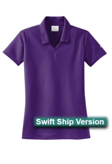 Swift Ship items rush ship 3 days after art approval: They require a 12 piece min and cannot be combined with non-swift items. This same item is available in additional colors, sizes and lower quantities by shopping our standard collection Swift Ship 3 day Swift Ship - Nike Golf Ladies Dri-FIT Micro Pique Polo