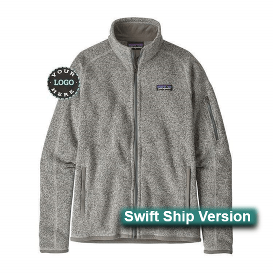 Swift Ship items rush ship 3 days after art approval: They require a 12 piece min and cannot be combined with non-swift items. This same item is available in additional colors, sizes and lower quantities by shopping our standard collection Swift Ship 3 day Swift Ship - Patagonia Women's Better Sweater® Fleece Jacket