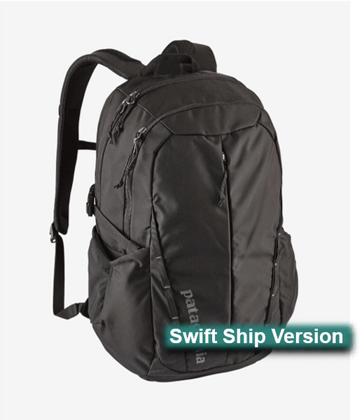 Swift Ship items rush ship 3 days after art approval: They require a 12 piece min and cannot be combined with non-swift items. This same item is available in additional colors, sizes and lower quantities by shopping our standard collection Swift Ship One Size / Black 3 day Swift Ship - Patagonia Refugio Backpack 28L