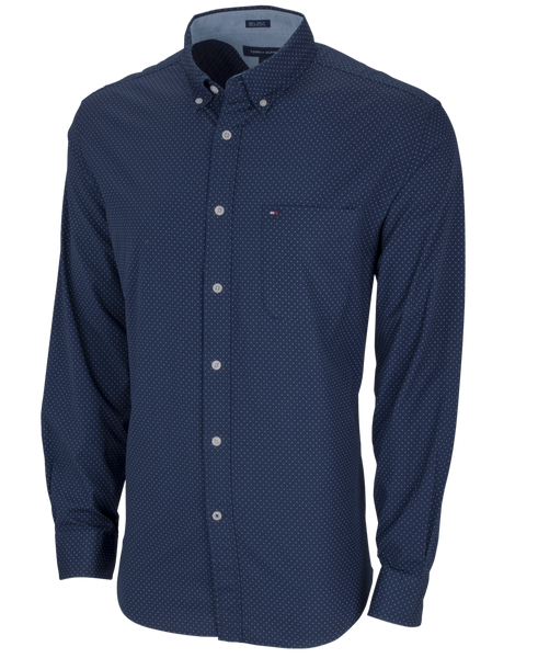 Tommy Hilfiger Woven Shirts S / Peacoat Tommy Hilfiger - Mens Polka Dot Button-Down Shirt