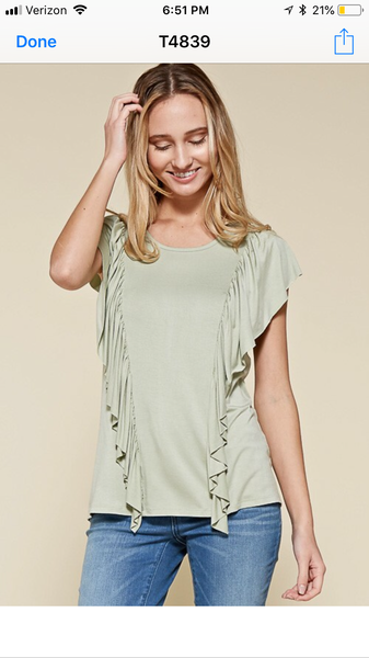 Light Sage Ruffle Top