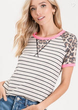 Load image into Gallery viewer, Pink Trim Cheetah Stripe Raglan