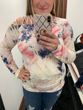 Load image into Gallery viewer, One Shoulder Criss Cross Tie Dye Top