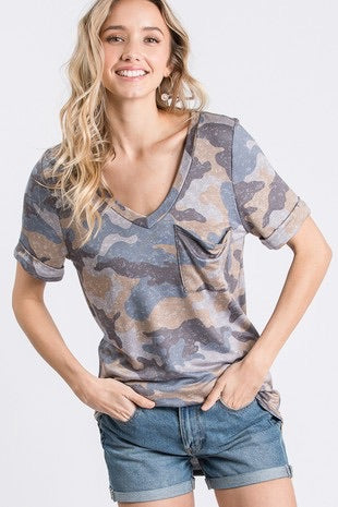Camo Print Pocket Top
