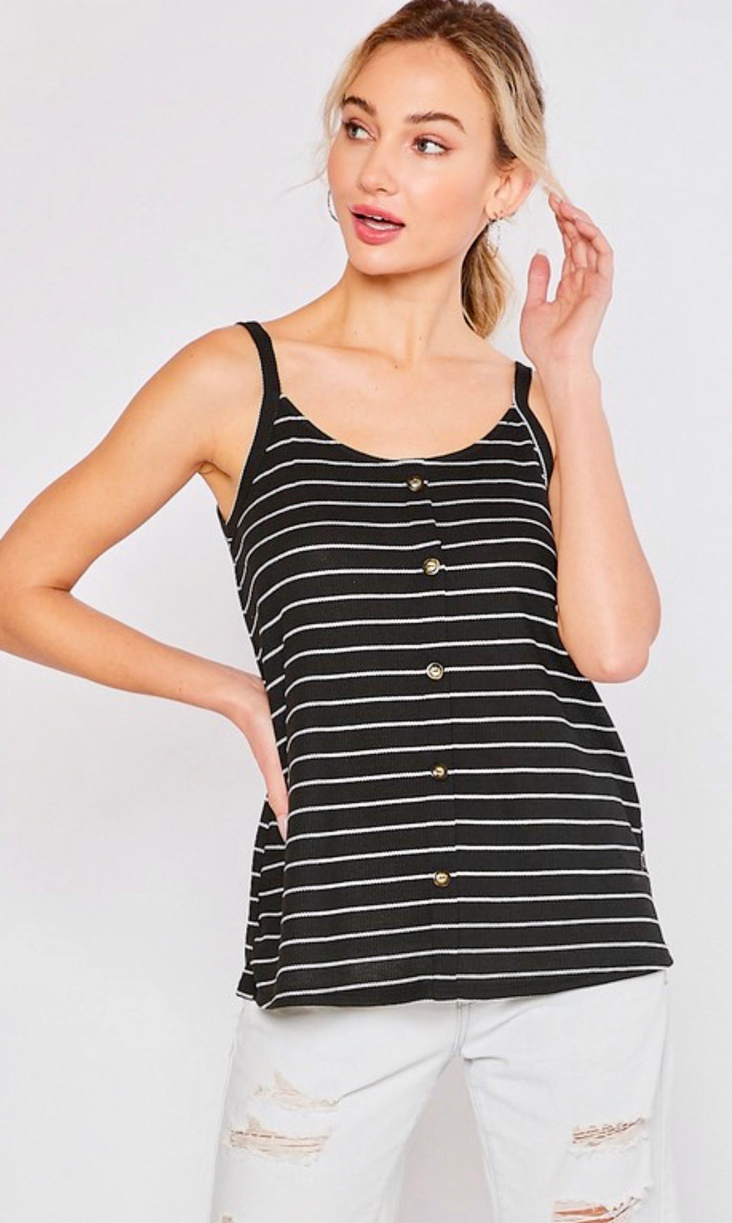 Thermal Stripe Button Front Tank