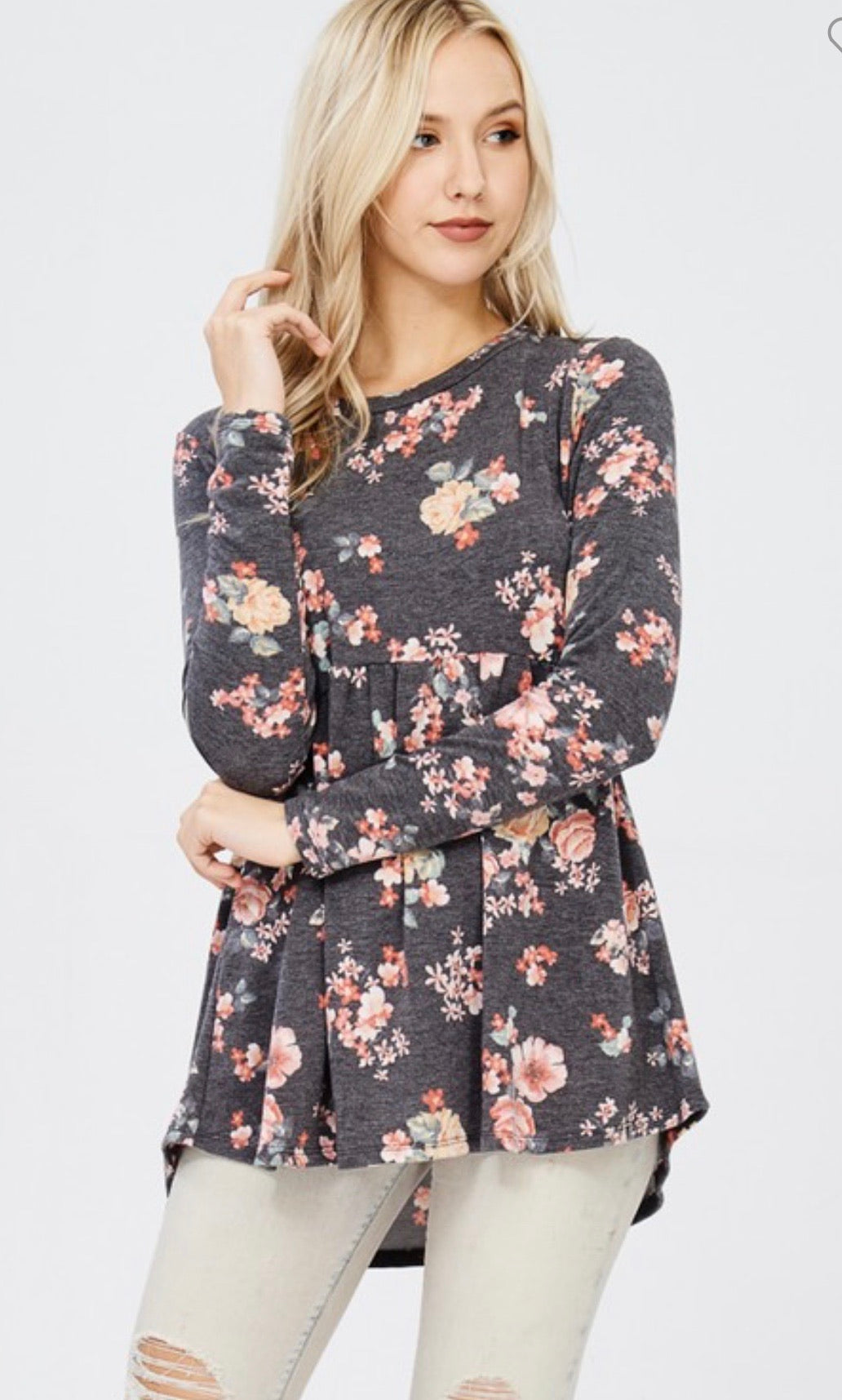 Charcoal Floral Peplum Top