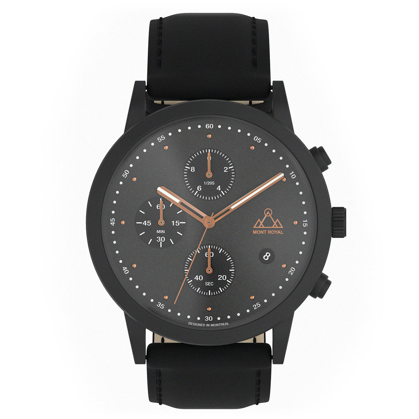 All Black + Leather chronograph Watch