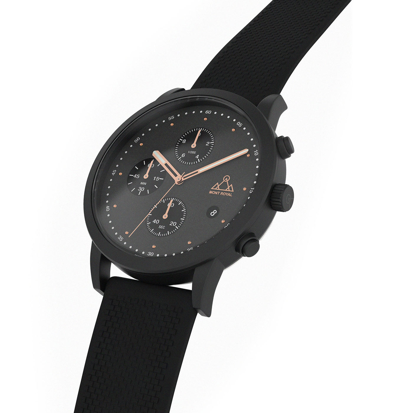 All Black + Silicone chronograph Watch