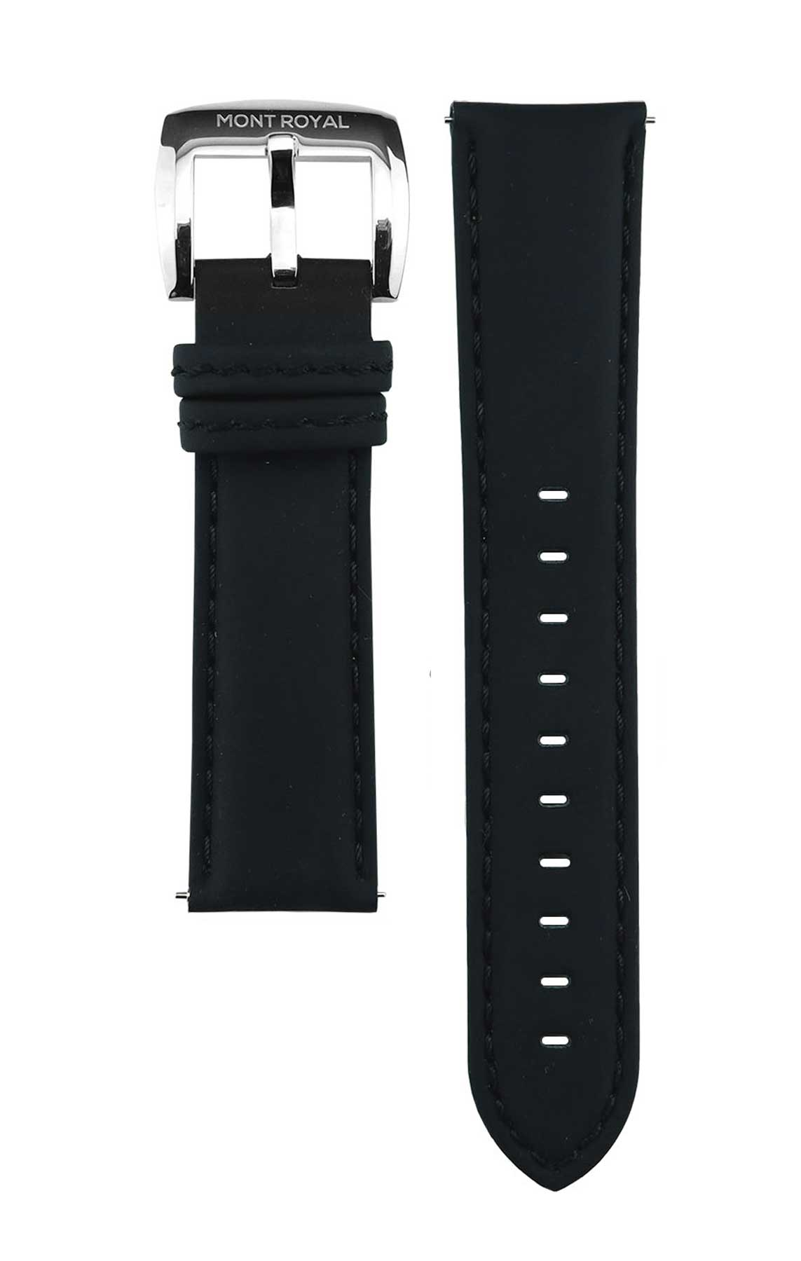 22mm Black Leather (Silver)