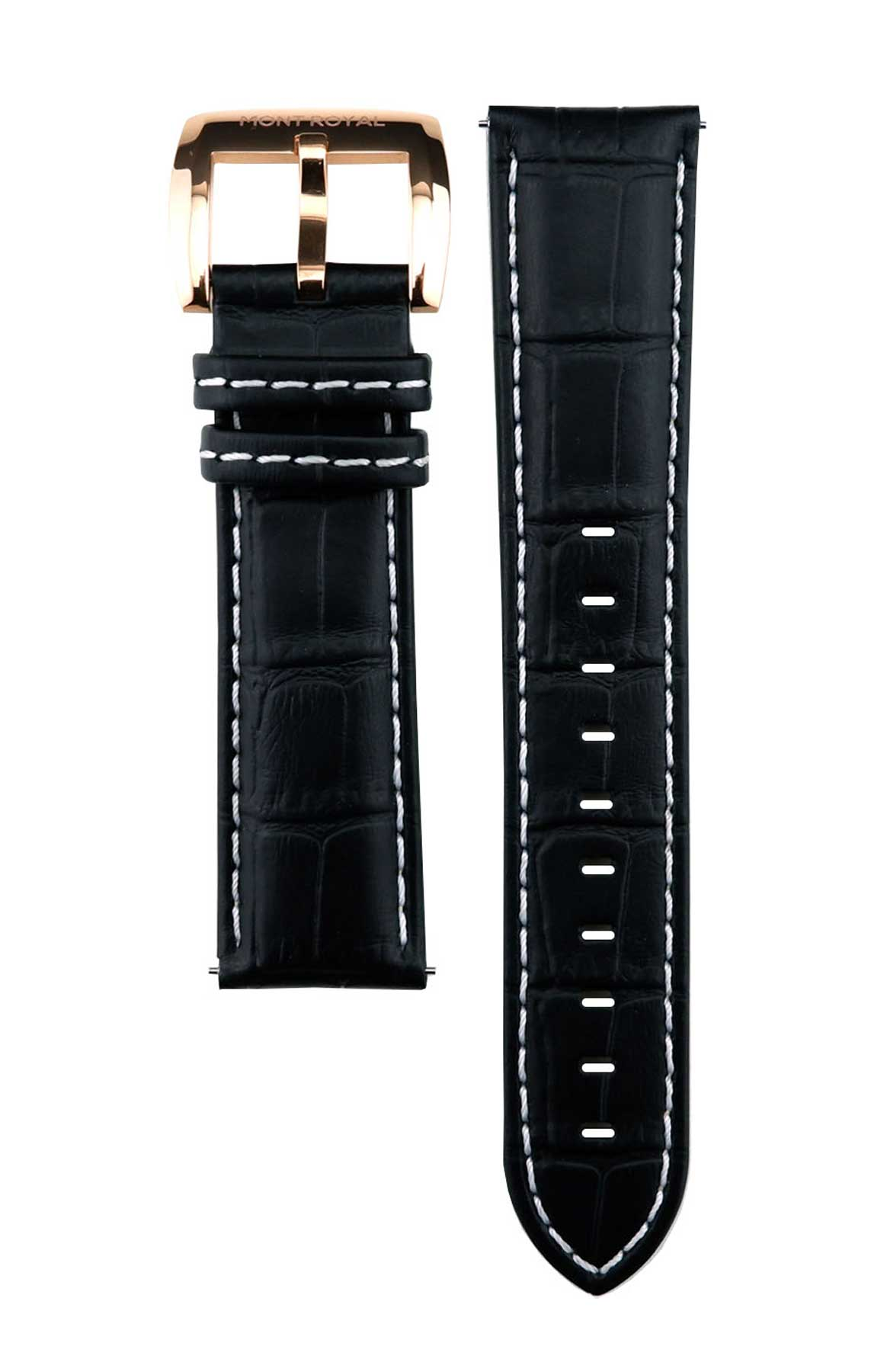 22mm Black Croc Leather (Rose-Gold)